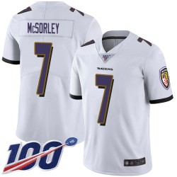 Limited Men's Trace McSorley White Road Jersey - #7 Football Baltimore Ravens 100th Season Vapor Untouchable