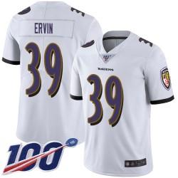 Limited Men's Tyler Ervin White Road Jersey - #39 Football Baltimore Ravens 100th Season Vapor Untouchable