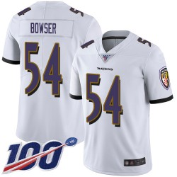 Limited Men's Tyus Bowser White Road Jersey - #54 Football Baltimore Ravens 100th Season Vapor Untouchable