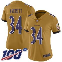 Limited Women's Anthony Averett Gold Jersey - #34 Football Baltimore Ravens 100th Season Inverted Legend