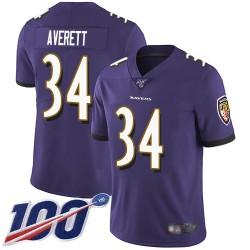 Limited Men's Anthony Averett Purple Home Jersey - #34 Football Baltimore Ravens 100th Season Vapor Untouchable