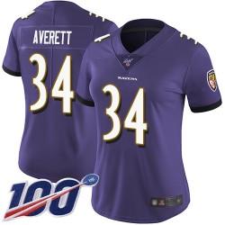 Limited Women's Anthony Averett Purple Home Jersey - #34 Football Baltimore Ravens 100th Season Vapor Untouchable