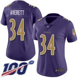 Limited Women's Anthony Averett Purple Jersey - #34 Football Baltimore Ravens 100th Season Rush Vapor Untouchable