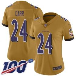 Limited Women's Brandon Carr Gold Jersey - #24 Football Baltimore Ravens 100th Season Inverted Legend