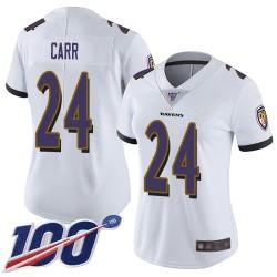 Limited Women's Brandon Carr White Road Jersey - #24 Football Baltimore Ravens 100th Season Vapor Untouchable