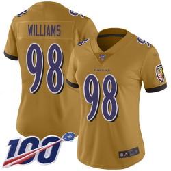 Limited Women's Brandon Williams Gold Jersey - #98 Football Baltimore Ravens 100th Season Inverted Legend