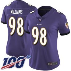 Limited Women's Brandon Williams Purple Home Jersey - #98 Football Baltimore Ravens 100th Season Vapor Untouchable