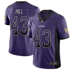 Limited Youth Justice Hill Purple Jersey - #43 Football Baltimore Ravens Rush Drift Fashion