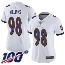 Limited Women's Brandon Williams White Road Jersey - #98 Football Baltimore Ravens 100th Season Vapor Untouchable