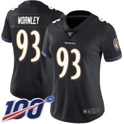 Limited Women's Chris Wormley Black Alternate Jersey - #93 Football Baltimore Ravens 100th Season Vapor Untouchable