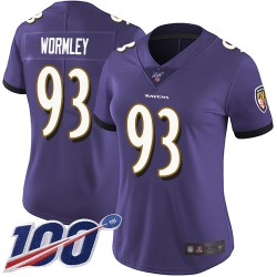 Limited Women's Chris Wormley Purple Home Jersey - #93 Football Baltimore Ravens 100th Season Vapor Untouchable