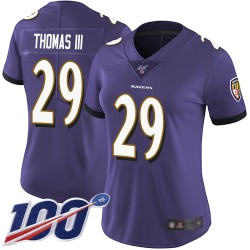 Limited Women's Earl Thomas III Purple Home Jersey - #29 Football Baltimore Ravens 100th Season Vapor Untouchable