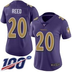 Limited Women's Ed Reed Purple Jersey - #20 Football Baltimore Ravens 100th Season Rush Vapor Untouchable