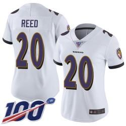 Limited Women's Ed Reed White Road Jersey - #20 Football Baltimore Ravens 100th Season Vapor Untouchable