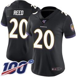 Limited Women's Ed Reed Black Alternate Jersey - #20 Football Baltimore Ravens 100th Season Vapor Untouchable