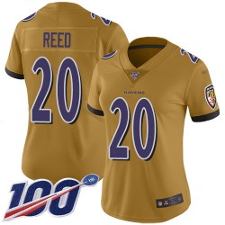 Limited Women's Ed Reed Gold Jersey - #20 Football Baltimore Ravens 100th Season Inverted Legend
