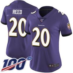 Limited Women's Ed Reed Purple Home Jersey - #20 Football Baltimore Ravens 100th Season Vapor Untouchable