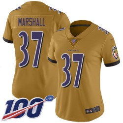 Limited Women's Iman Marshall Gold Jersey - #37 Football Baltimore Ravens 100th Season Inverted Legend