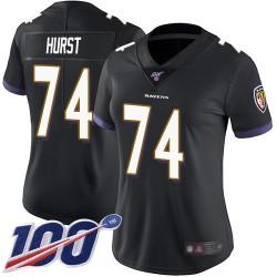 Limited Women's James Hurst Black Alternate Jersey - #74 Football Baltimore Ravens 100th Season Vapor Untouchable