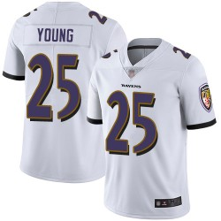 Limited Youth Tavon Young White Road Jersey - #25 Football Baltimore Ravens Vapor Untouchable