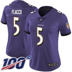 Limited Women's Joe Flacco Purple Home Jersey - #5 Football Baltimore Ravens 100th Season Vapor Untouchable