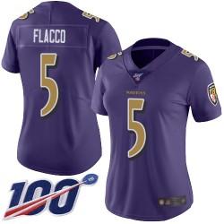 Limited Women's Joe Flacco Purple Jersey - #5 Football Baltimore Ravens 100th Season Rush Vapor Untouchable