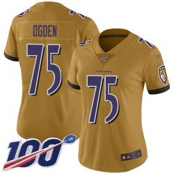 Limited Women's Jonathan Ogden Gold Jersey - #75 Football Baltimore Ravens 100th Season Inverted Legend