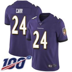 Limited Men's Brandon Carr Purple Home Jersey - #24 Football Baltimore Ravens 100th Season Vapor Untouchable