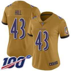 Limited Women's Justice Hill Gold Jersey - #43 Football Baltimore Ravens 100th Season Inverted Legend