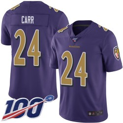 Limited Men's Brandon Carr Purple Jersey - #24 Football Baltimore Ravens 100th Season Rush Vapor Untouchable