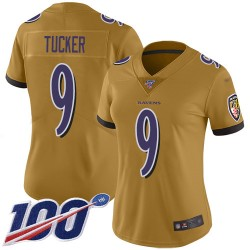 Limited Women's Justin Tucker Gold Jersey - #9 Football Baltimore Ravens 100th Season Inverted Legend