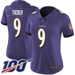 Limited Women's Justin Tucker Purple Home Jersey - #9 Football Baltimore Ravens 100th Season Vapor Untouchable