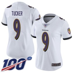 Limited Women's Justin Tucker White Road Jersey - #9 Football Baltimore Ravens 100th Season Vapor Untouchable