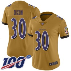Limited Women's Kenneth Dixon Gold Jersey - #30 Football Baltimore Ravens 100th Season Inverted Legend