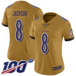 Limited Women's Lamar Jackson Gold Jersey - #8 Football Baltimore Ravens 100th Season Inverted Legend