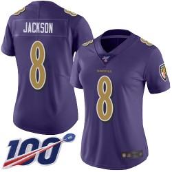 Limited Women's Lamar Jackson Purple Jersey - #8 Football Baltimore Ravens 100th Season Rush Vapor Untouchable