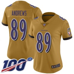 Limited Women's Mark Andrews Gold Jersey - #89 Football Baltimore Ravens 100th Season Inverted Legend