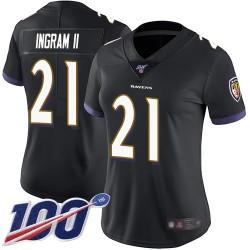 Limited Women's Mark Ingram II Black Alternate Jersey - #21 Football Baltimore Ravens 100th Season Vapor Untouchable