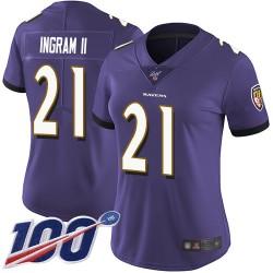 Limited Women's Mark Ingram II Purple Home Jersey - #21 Football Baltimore Ravens 100th Season Vapor Untouchable