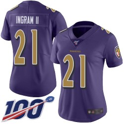 Limited Women's Mark Ingram II Purple Jersey - #21 Football Baltimore Ravens 100th Season Rush Vapor Untouchable