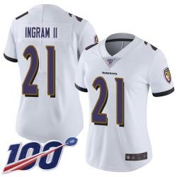 Limited Women's Mark Ingram II White Road Jersey - #21 Football Baltimore Ravens 100th Season Vapor Untouchable