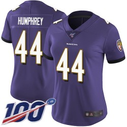 Limited Women's Marlon Humphrey Purple Home Jersey - #44 Football Baltimore Ravens 100th Season Vapor Untouchable