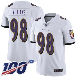 Limited Men's Brandon Williams White Road Jersey - #98 Football Baltimore Ravens 100th Season Vapor Untouchable