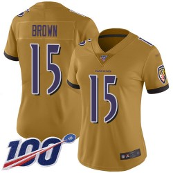 Limited Women's Marquise Brown Gold Jersey - #15 Football Baltimore Ravens 100th Season Inverted Legend