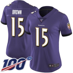 Limited Women's Marquise Brown Purple Home Jersey - #15 Football Baltimore Ravens 100th Season Vapor Untouchable
