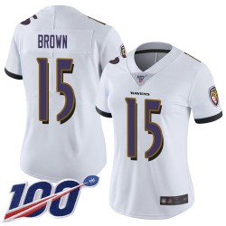 Limited Women's Marquise Brown White Road Jersey - #15 Football Baltimore Ravens 100th Season Vapor Untouchable