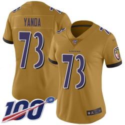 Limited Women's Marshal Yanda Gold Jersey - #73 Football Baltimore Ravens 100th Season Inverted Legend