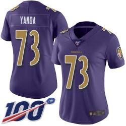 Limited Women's Marshal Yanda Purple Jersey - #73 Football Baltimore Ravens 100th Season Rush Vapor Untouchable
