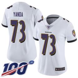 Limited Women's Marshal Yanda White Road Jersey - #73 Football Baltimore Ravens 100th Season Vapor Untouchable
