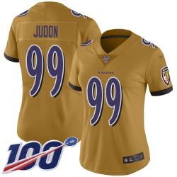 Limited Women's Matt Judon Gold Jersey - #99 Football Baltimore Ravens 100th Season Inverted Legend